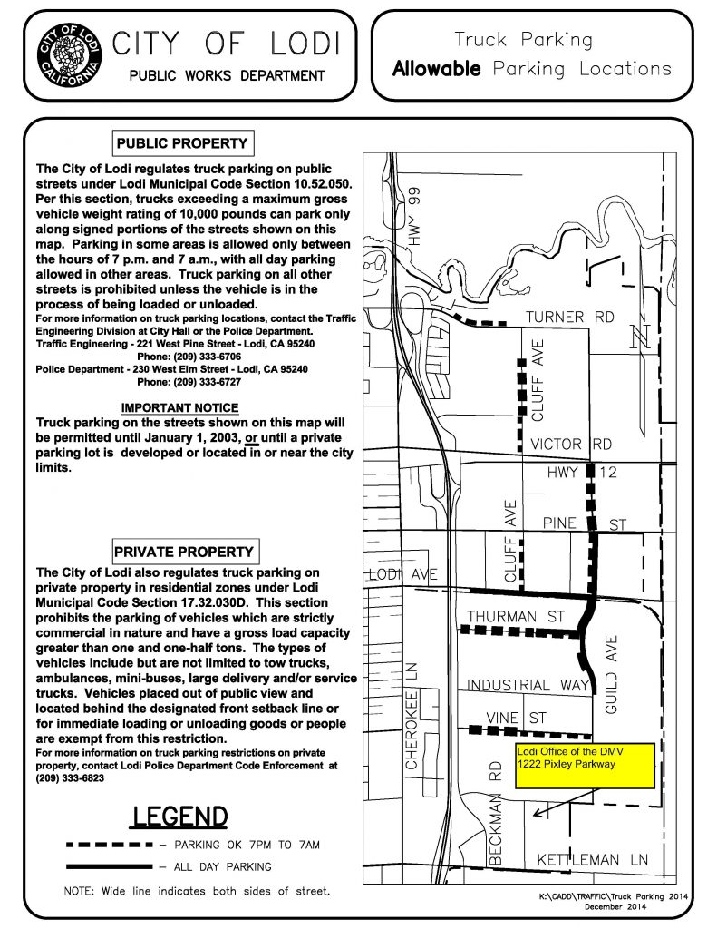 Map of Lodi, East of Hwy 99, showing location of DMV and permissible Truck Parking areas.